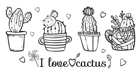 Doodles Cacti in a flower pot. Coloring book page for adult. Coloring cacti page or book. Scandinavian style, comfort in the house. Hygge. I love cactus. - Vector. Vector illustration 일러스트