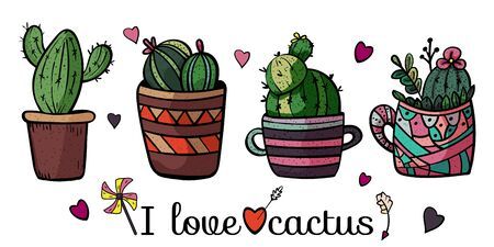 Banner I love cactus. Collection of potted plants. Doodles. Scandinavian style, comfort in the house. Hygge. - Vector. Vector illustration