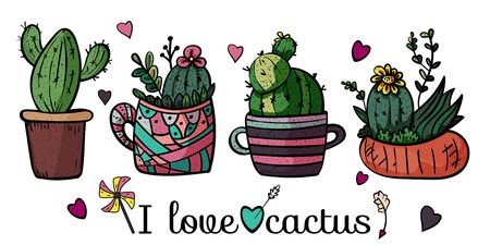 Banner I love cactus. Collection of bright potted plants. Scandinavian style, comfort in the house. Hygge. Doodles. - Vector. Vector illustration Foto de archivo - 130096602