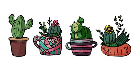 Decorative cacti for interior. Collection of potted plants. Scandinavian style, comfort in the house. Hygge. Doodles. - Vector. Vector illustration Foto de archivo - 130096603