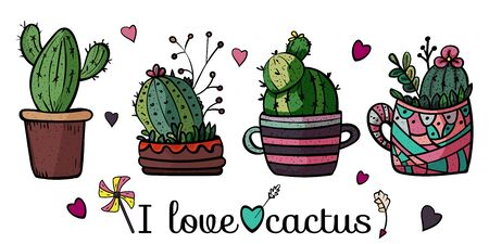 Banner I love cactus. Collection of bright potted plants. Scandinavian style, comfort in the house. Hygge. Doodles. - Vector. Vector illustration Foto de archivo - 130096604
