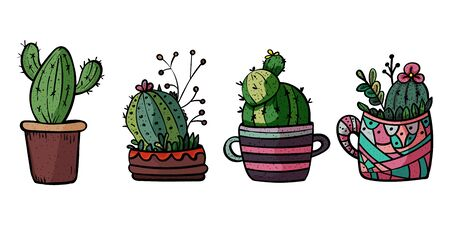 Decorative cacti for interior. Collection of potted plants. Scandinavian style, comfort in the house. Hygge. Doodles. - Vector. Vector illustration Foto de archivo - 130096606
