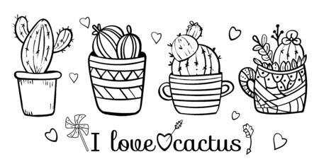 Doodles Cacti in a flower pot. Coloring book page for adult. Coloring cacti page or book. Scandinavian style, comfort in the house. Hygge. I love cactus. - Vector. Vector illustration 矢量图像