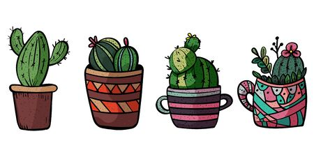 Decorative cacti for interior. Collection of potted plants. Scandinavian style, comfort in the house. Hygge. Doodles. - Vector. Vector illustration Foto de archivo - 130096624