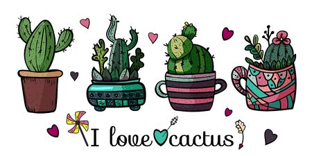 Banner I love cactus. Collection of bright potted plants. Scandinavian style, comfort in the house. Hygge. Doodles. - Vector. Vector illustration Foto de archivo - 130096623