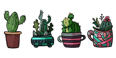 Decorative cacti for interior. Collection of potted plants. Scandinavian style, comfort in the house. Hygge. Doodles. - Vector. Vector illustration Foto de archivo - 130096622