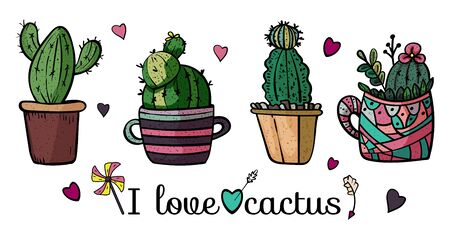 Banner I love cactus. Collection of bright potted plants. Scandinavian style, comfort in the house. Hygge. Doodles. - Vector. Vector illustration Foto de archivo - 130096619