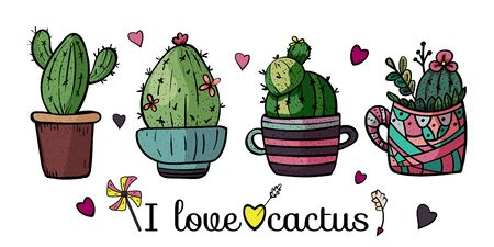 Banner I love cactus. Collection of bright potted plants. Scandinavian style, comfort in the house. Hygge. Doodles. - Vector. Vector illustration 向量圖像