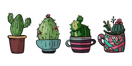 Decorative cacti for interior. Set or Collection of potted plants. Scandinavian style, comfort in the house. Hygge. Doodles. - Vector. Vector illustration Foto de archivo - 130096621