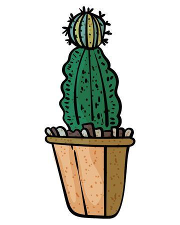 Cactus In A Pot. Botanical illustration. Succulent plant. Scandinavian style, comfort in the house. Hygge. - Vector. Vector illustration Foto de archivo - 130096626