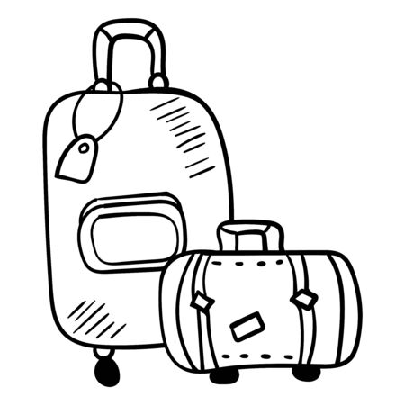 Two suitcases of different sizes - large and small.. Three suitcasesr for travel. Black and white image of a suitcase. Coloring for children, leisure, antistress. Doodle. Cartoon clip art accessory for travelers. Vector illustration. Vector Ilustrace