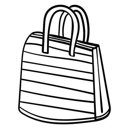 Bolsa de playa. Ilustración del accesorio de playa de dibujos animados. Página para colorear o libro. Ilustración vectorial. Composición cuadrada. Imágenes aisladas. Diseño vectorial.