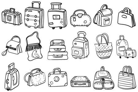 Malseite oder Buch, Antistress, Hobby. Variationen von Taschen, Handgepäck, Koffer für Design-Set. Thema für Reisen, Bildung und Mode. Vektor. Vektor-Doodles