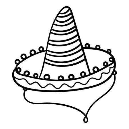 Sombrero for coloring books or page. Cinco De Mayo celebration. Mexico theme vector illustration.