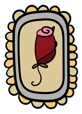 Red rose cartoon style. Rose in frame. Funny and elegant. - Vector. Vector illustration Иллюстрация