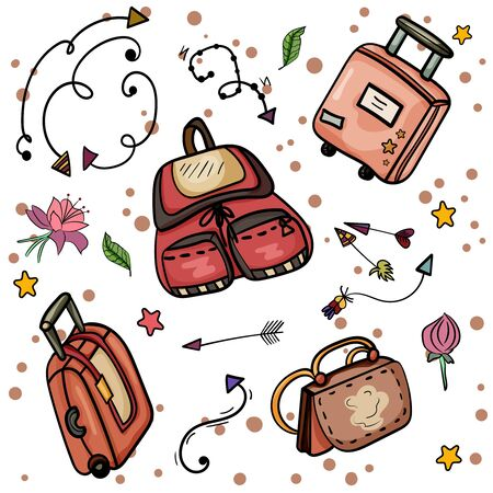Set Of Colorful Suitcases. Collection of scrapbooking elements. Vector Collection of vintage suitcases and bag. Travel Illustration. - Vector
