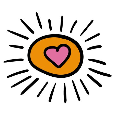 Sun orange with heart inside. Vector image of the sun in cartoon style. - Vector illustration
