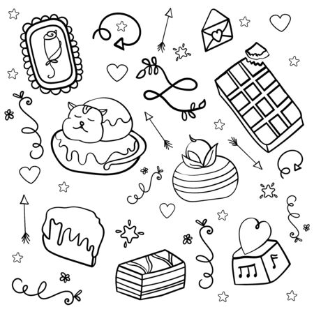 Large sweet set of cakes. Collection of desserts and pastries for Christmas, New Year, Valentines Day. Coloring page, Coloring book. Contour. - Vector. Vector illustration Stock Illustratie