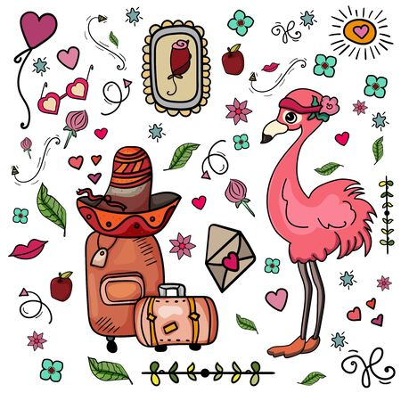 Romantic journey. Flamingo wearing a sombrero. Travelling to Mexico. Hand drawn colorful set apple, rose, envelope, glasses vector. Doodle set Mexican traditional. Card, postcard, banner. - Vector. Vector illustration
