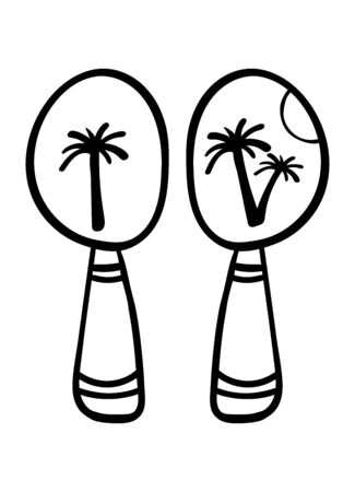 Maracas. Coloring page, Coloring book. Contour. Percussion musical instrument: beanbag, rumba shaker. Cartoon style, vector. Decorative maracas, musical instrument. Vector illustration isolated. - Vector