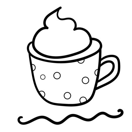 Coffee with foam in a polka dot mug. Coloring page, Coloring book. Contour. Doodle illustration. Symbol of celebration and comfort. New Years and Christmas. Cozy Home. - Vector.