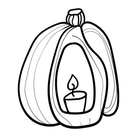 Pumpkin with a candle. Coloring page, Coloring book. Contour. Doodle illustration. Symbol of celebration and comfort. Halloween or Thanksgiving. Cozy Home. Vector. Vector illustration
