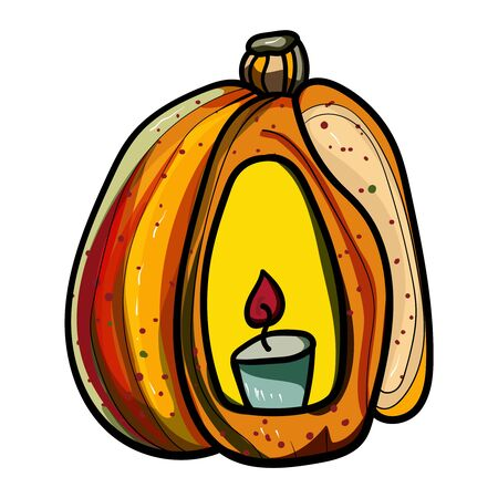 Pumpkin with a candle. Doodle illustration. Symbol of celebration and comfort. Halloween or Thanksgiving. Cozy Home. Vector. Vector illustration