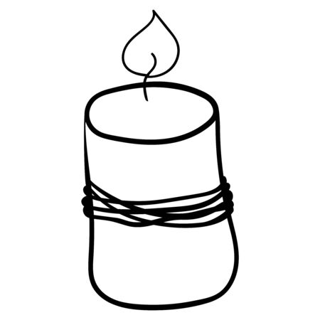 Scented candle. Coloring page, Coloring book. Contour. Doodle illustration. Symbol of celebration and comfort. New Year Christmas. Cozy Home. - Vector. Vector illustration