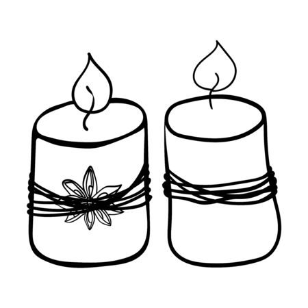 Two scented candles. Coloring page, Coloring book. Contour. Doodle illustration. Symbol of celebration and comfort. New Years and Christmas. Cozy Home. Vector. Vector illustration Çizim