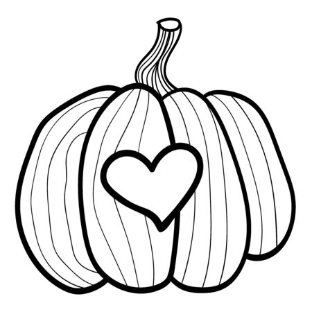 Pumpkin with a carved heart. Coloring page, Coloring book. Contour. Doodle illustration. Symbol of celebration and comfort. Halloween or Thanksgiving. Cozy Home. Vector. Vector illustration Stock Illustratie