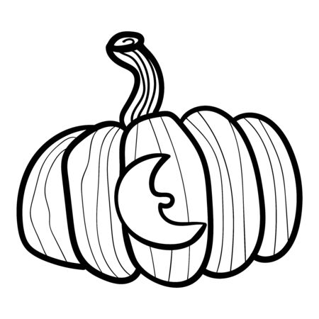 Pumpkin with a carved moon. Coloring page, Coloring book. Contour. Doodle illustration. Symbol of celebration and comfort. Halloween or Thanksgiving. Cozy Home. Vector. Vector illustration Stock Illustratie
