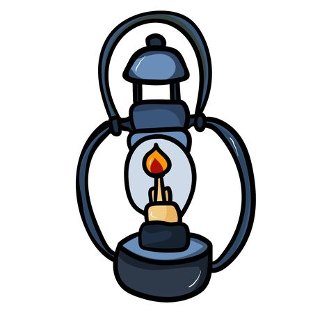 Oil lamp accessory for comfort. Season is winter or fall. Warmth and comfort. - Vector. Vector illustration