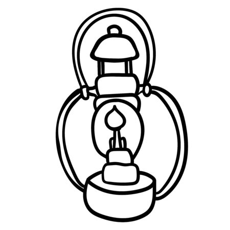 Oil lamp accessory for comfort. Coloring page adult and kids. Season is winter or fall. Warmth and comfort. - Vector. Vector illustration Çizim