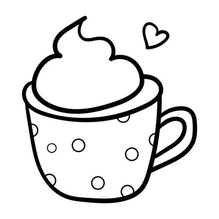 Drink coffee in a pea mug. Coloring page, Coloring book. Contour. Love. Decorative Accessory for comfort. The season is winter. Warmth and comfort. - Vector. Vector illustration