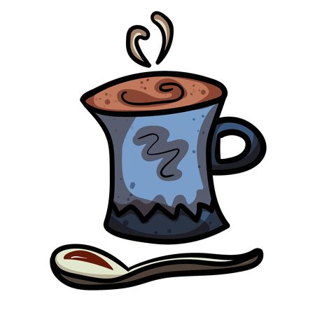 Coffee drink in a mug and spoon. Accessory for comfort. Season is winter or fall. Warmth and comfort. - Vector. Vector illustration Çizim