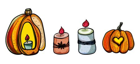 Big orange pumpkin, candles. Pumpkin and halloween. Banner for holiday. Season is winter or fall. Warmth and comfort.