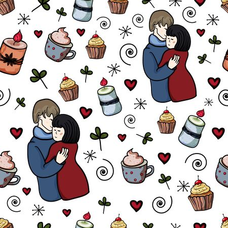 Romantic pattern. Seamless texture. Embrace. Love couple. Husband and wife. Candles, coffee, love. Hygge, Cozy Home. - Vector. Vector illustration 向量圖像