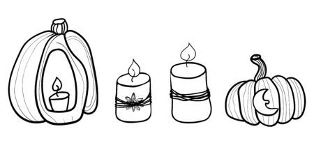 Big orange pumpkin, candles. Pumpkin and halloween. Coloring page adult and kids. Banner for holiday. Accessory for comfort. Season is winter or fall. Warmth and comfort.
