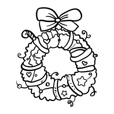 Christmas decoration on the door. Coloring page or book, antistress, hobby. Vector wreath of Christmas branches. - Vector. Vector illustration