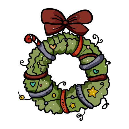 Christmas decoration on the door. Vector wreath of Christmas branches. - Vector. Vector illustration Çizim