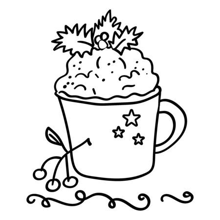 Coffee with foam. Decoration of Holly, mistletoe. Coloring page or book, antistress, hobby. - Vector. Vector illustration Stock Illustratie