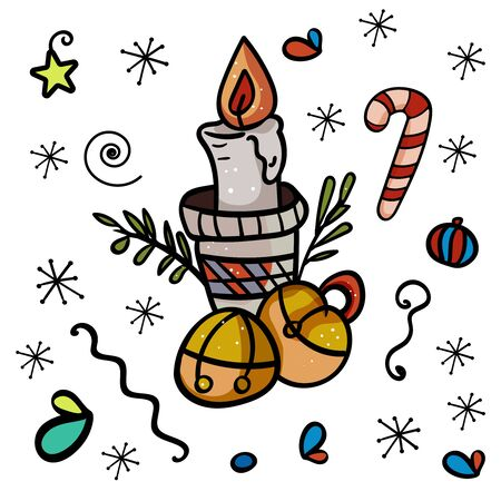 Vector image of a candle in a candlestick with christmas bells. Decoration for a cozy home. - Vector. Vector illustration