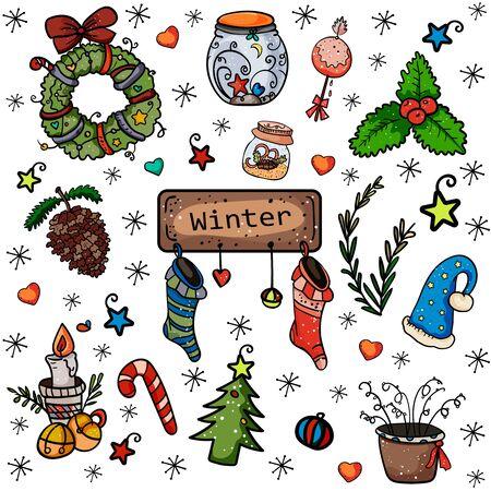 Weihnachtskollektion von Designelementen. Kranz, Glas, Mistel, Socke, Kerze, Glocken usw. Symbol für das neue Jahr und Weihnachten. Wohnkultur. - Vektor. Vektor-Illustration