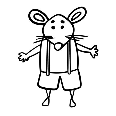 Cute mouse or rat in shorts with suspenders. Symbol of the New Year 2020. Coloring page adult and kids. Cartoon style, vector. - Vector. Vector illustration