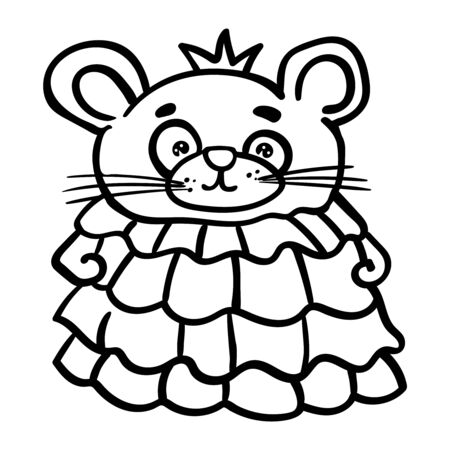 Mouse or rat princess in a pink dress with a crown on her head. Coloring page adult and kids. Symbol of the New Year 2020. Cartoon style, vector. - Vector. Vector illustration Illustration