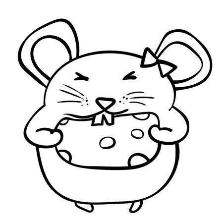 Rat or mouse chewing a piece of cheese. Coloring page adult and kids. Symbol of the New Year 2020. Cartoon style, vector. - Vector. Vector illustration