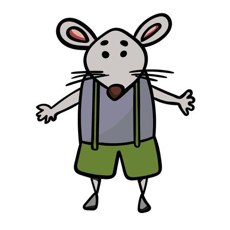 Cute mouse or rat in shorts with suspenders. Symbol of the New Year 2020. Cartoon style, vector. - Vector. Vector illustration