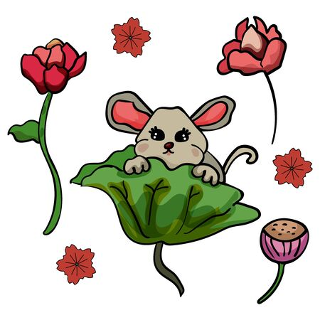 Chinese mouse and lily flowers. Doodle illustration. Symbol of the New Year 2020. - Vector. Vector illustration Banco de Imagens - 133722240