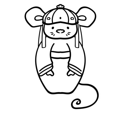 The rat in the red tang suit. Happy Chinese New Year 2020. Doodle illustration. The rat in the Chinese style. Coloring page adult and kids. Symbol of the New Year 2020. - Vector. Vector illustration