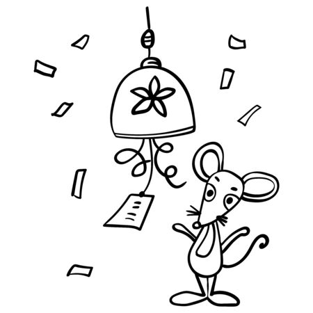 Mouse or rat ringing the bell, good Luck, Prosperity, Health. The rat in the Chinese style. Coloring page adult and kids. Symbol of the New Year 2020. - Vector. Vector illustration Banco de Imagens - 133722242